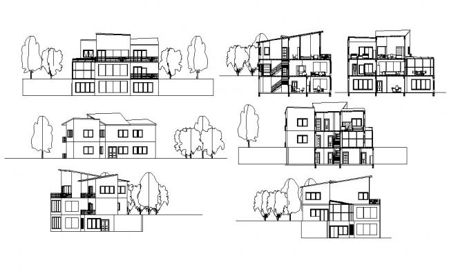 Bungalow Design Elevation and Section CAD Drawing