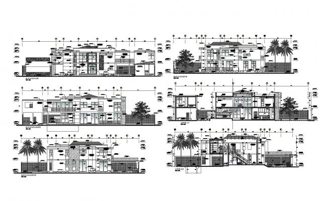 Bungalow house design with section and elevation in DWG file