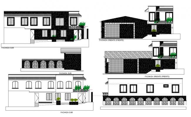 Bungalow Elevation AutoCAD Drawing Free Download