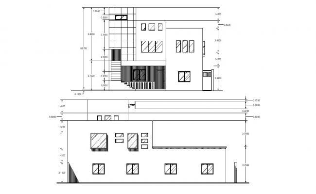Bungalow Elevation Design 2d AutoCAD Drawing