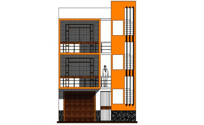 Bungalow Elevation Design Architecture Drawing CAD File