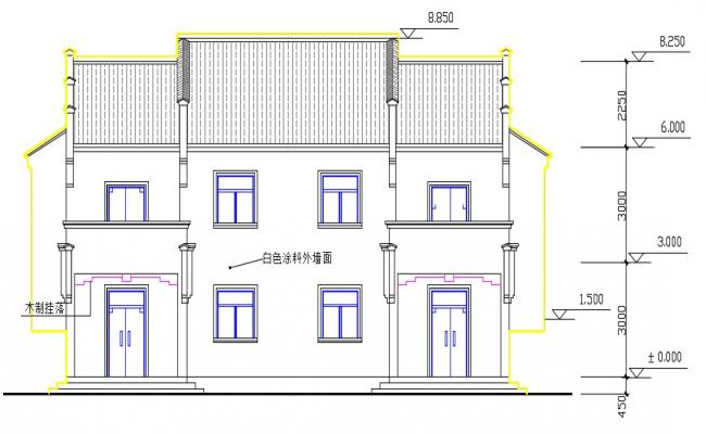 Bungalow Elevation Design AutoCAD Drawing Download