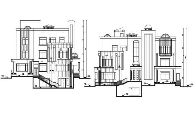 Bungalow Elevation Design CAD File