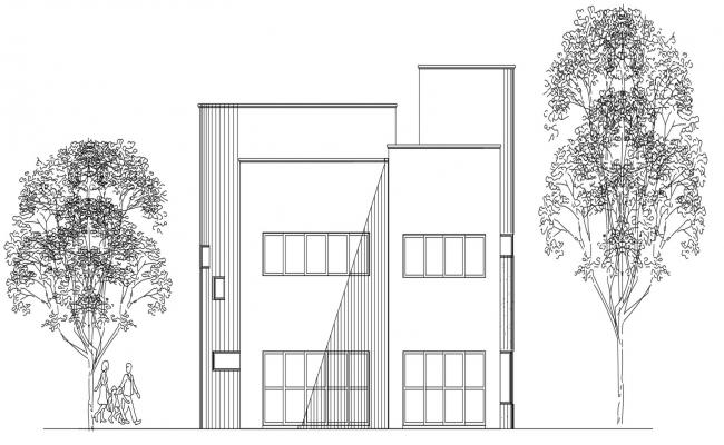 Bungalow Elevation Design With Some Green AutoCAD File Free