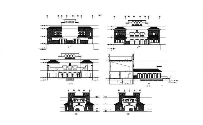 Bungalow Elevation Design With Working Drawing AutoCAD File
