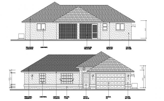 Bungalow Elevation Drawing Free Download
