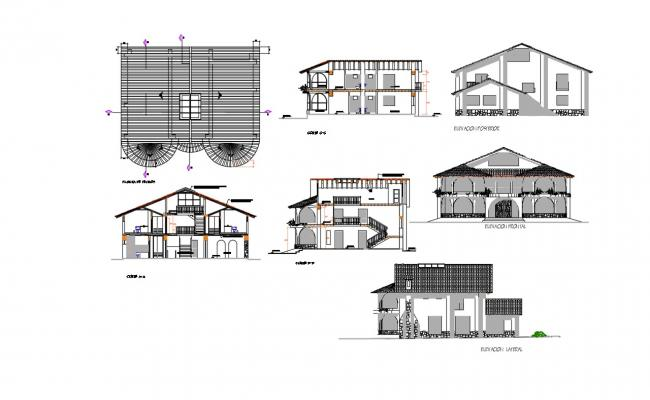 Bungalow Elevation Plan In AutoCAD File