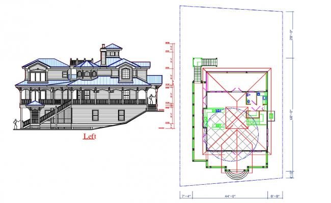 Bungalow Elevation and Roof Design CAD File