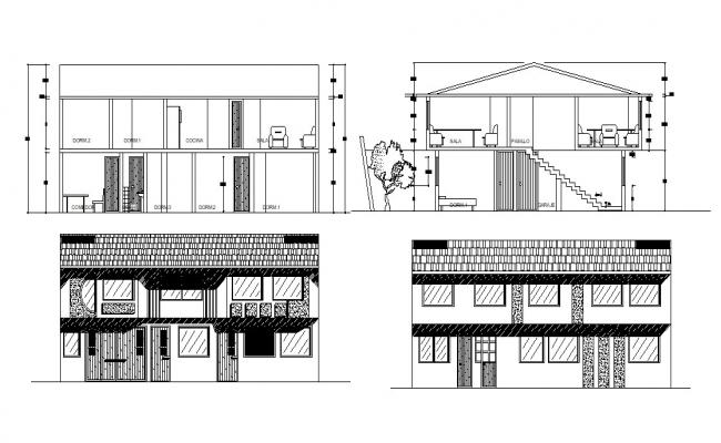 Bungalow Elevation and Section AutoCAD Design