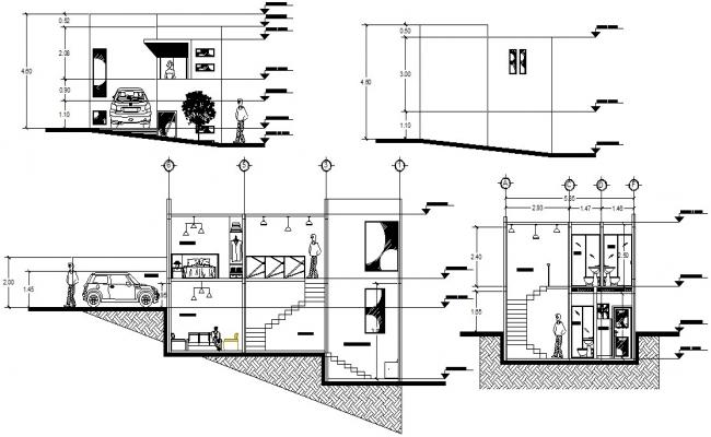 Bungalow Elevation and Section design 2d CAD Drawing