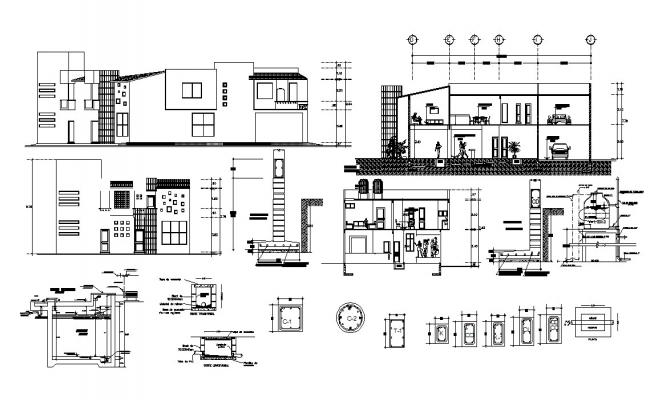 Bungalow Elevation and Section design Architecture Drawing