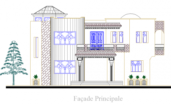 Bungalow Elevation design dwg file