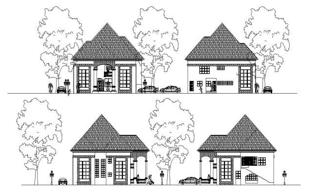 Bungalow Facade AutoCAD Drawing Free Download