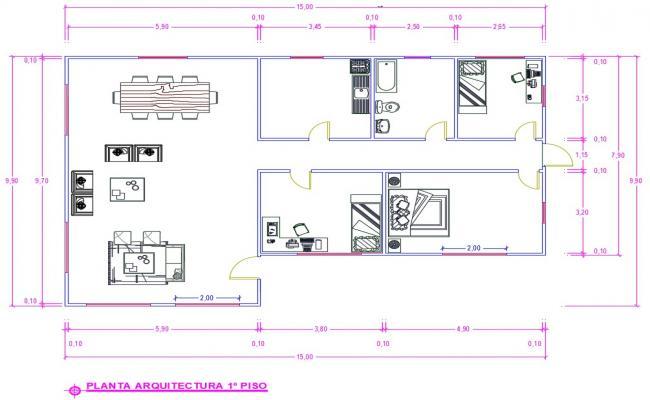 Bungalow Floor dwg Plans