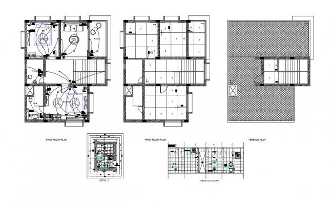 Bungalow Floors Plan And Electrical Design AutoCAD File