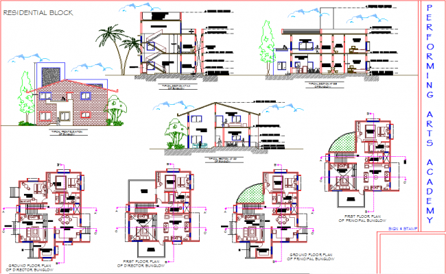 Bungalow Plan, elevation and section detail dwg file