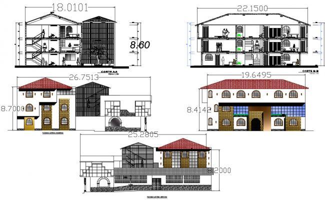 Bungalow Elevation design CAD file download