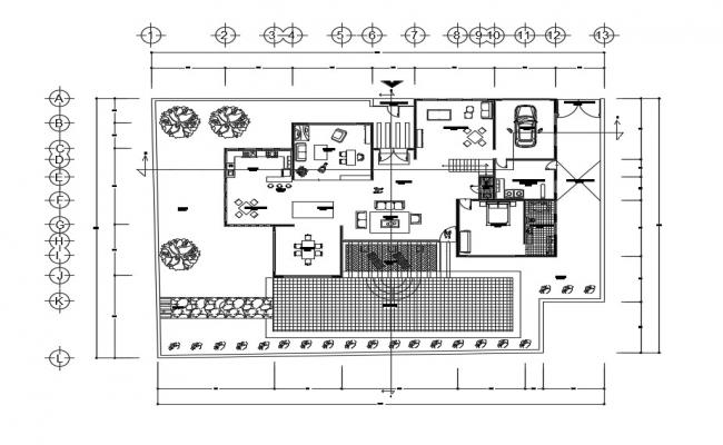 Bungalow Plan Section Elevation In AutoCAD File