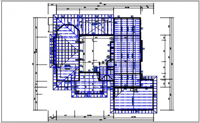 Bungalow Residential house & roof projection plan detail dwg file