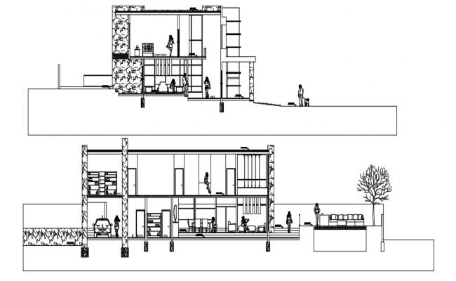 Bungalow Section AutoCAD Drawing free download