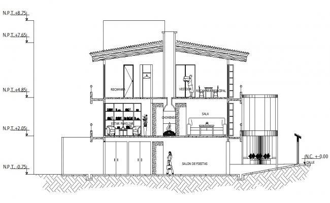Bungalow Section Design 2d AutoCAD Drawing