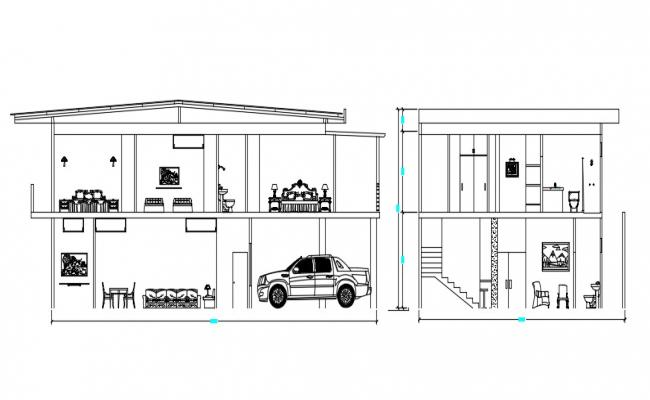 Bungalow Section With Furniture AutoCAD File
