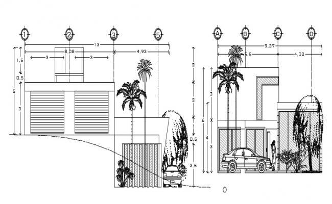 Bungalow Two Elevation With Some Landscape AutoCAD File