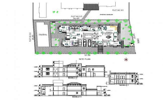 Bungalow all side section, site plan and distribution plan cad drawing details dwg file