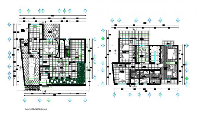 Bungalow architectural plan dwg file