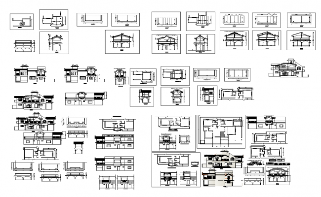 Bungalow building structure detail elevation and plan 2d view layout file in dwg format