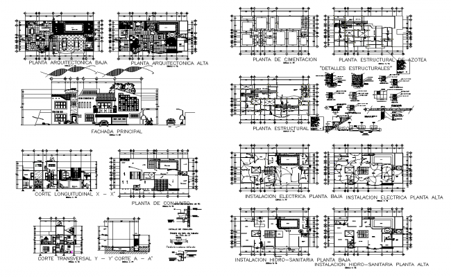 Bungalow building structure detail plan, elevation and section 2d view autocad file