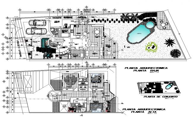 Bungalow building structure detail plan 2d view layout file