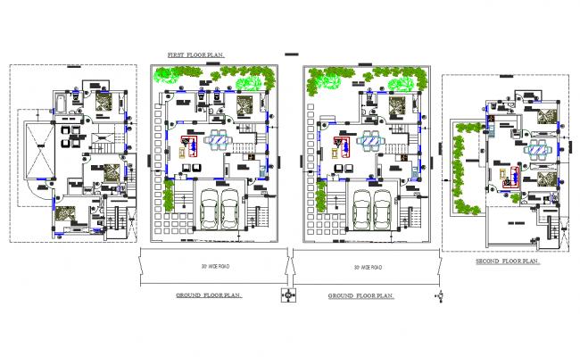 Bungalow center line plan detail dwg file