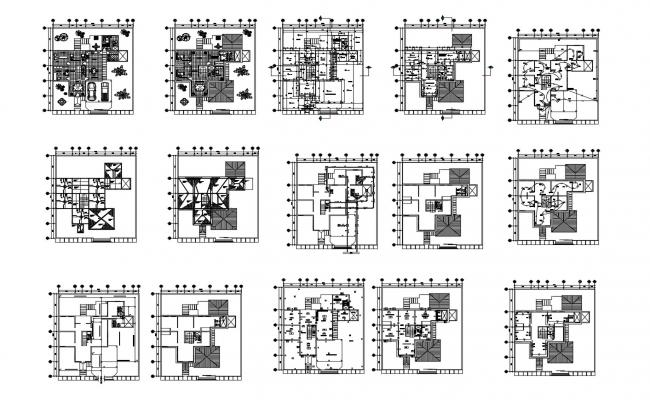 Bungalow design 18.85mtr x  21.85mtr with furniture details in dwg file
