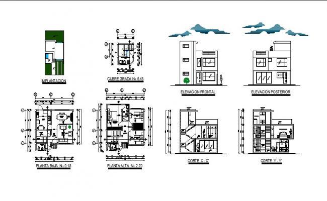 Bungalow design 8.00mtr x 7.60mtr in autocad