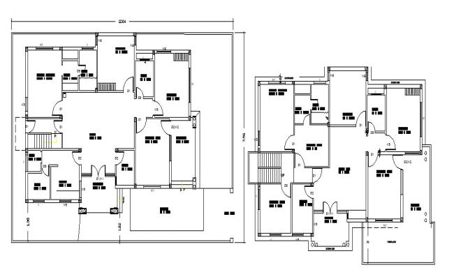 Bungalow design with detail dimension in autocad