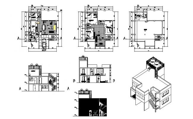 Modern Bungalow House Plans In AutoCAD File