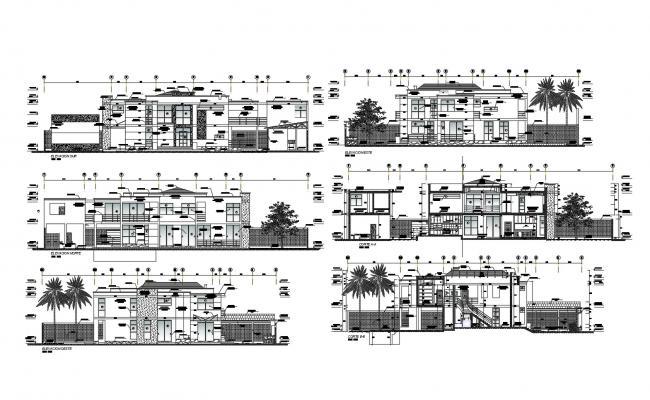 House Front Elevation Design In DWG File