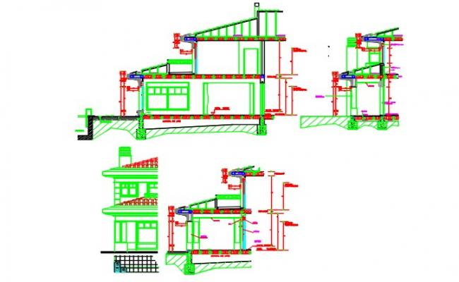 Bungalow detail section and elevation with detail of water catchment area .