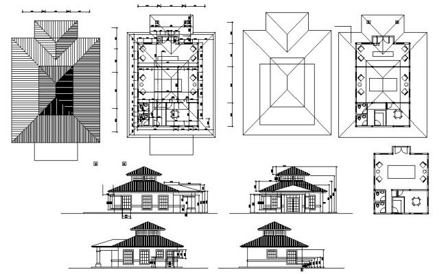 Bungalow drawing with elevations in dwg file