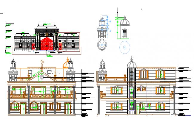Bungalow elevation design of dwg file