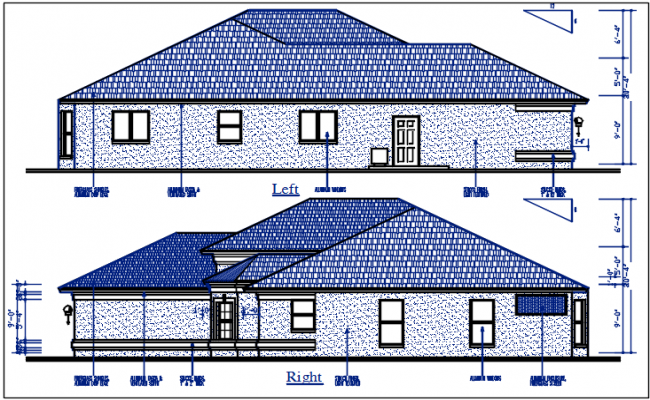 Bungalow elevation detail dwg file