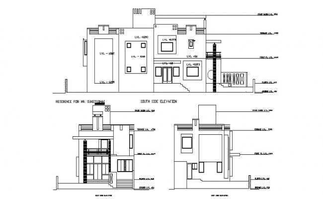 Bungalow elevation with detail dimension in DWG file