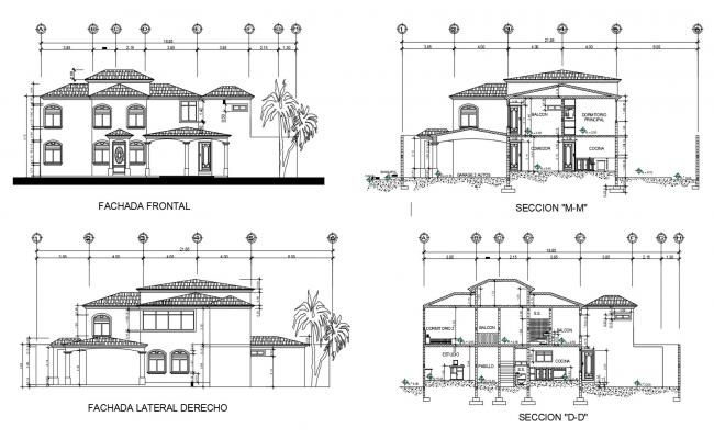 Bungalow Elevation In AutoCAD File