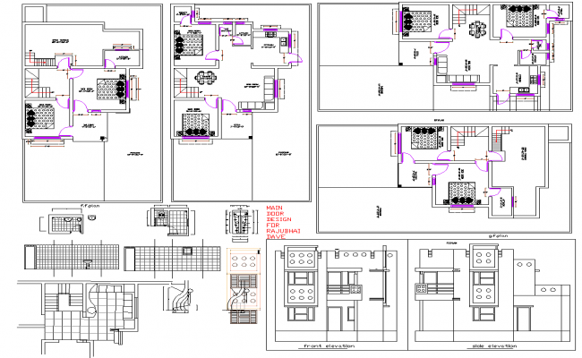 Bungalow floor plan detail and section view detail dwg file