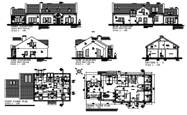 Bungalow house drawings