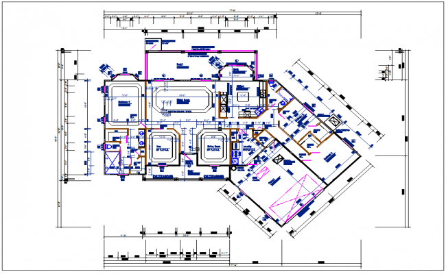 Bungalow house plan view detail dwg file
