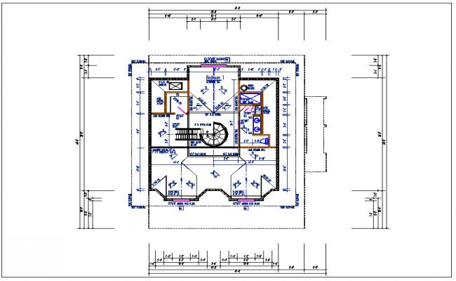 Bungalow house plan view detail dwg file