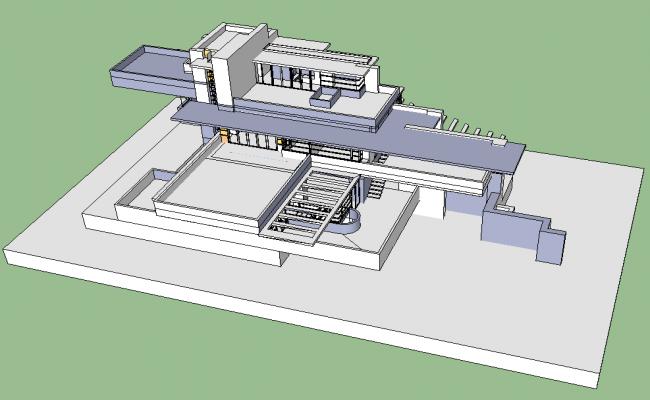 Bungalow housing detail elevation 3d model Sketch-up file