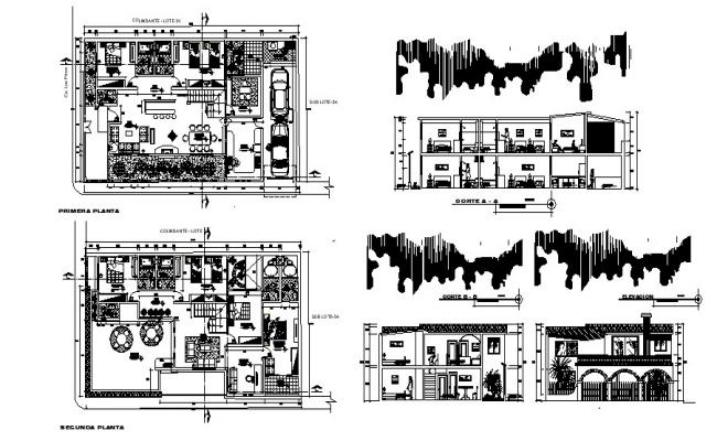 Bungalow plan 18.61mtr x 11.02mtr with section and elevation in AutoCAD